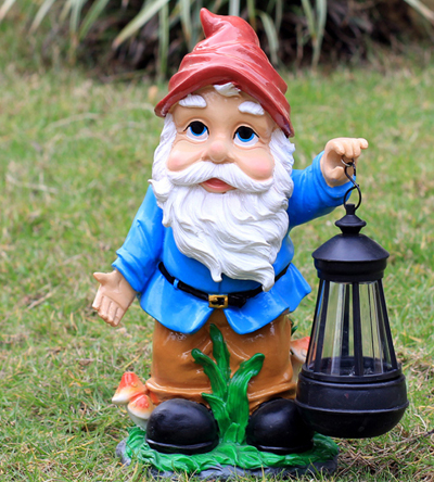 Blue Gnome Holding Lamp