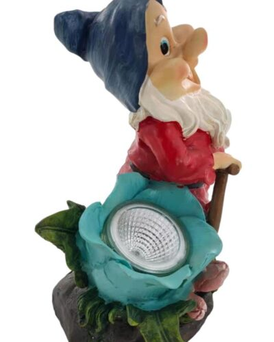 Garden Gnome with light and walking stick