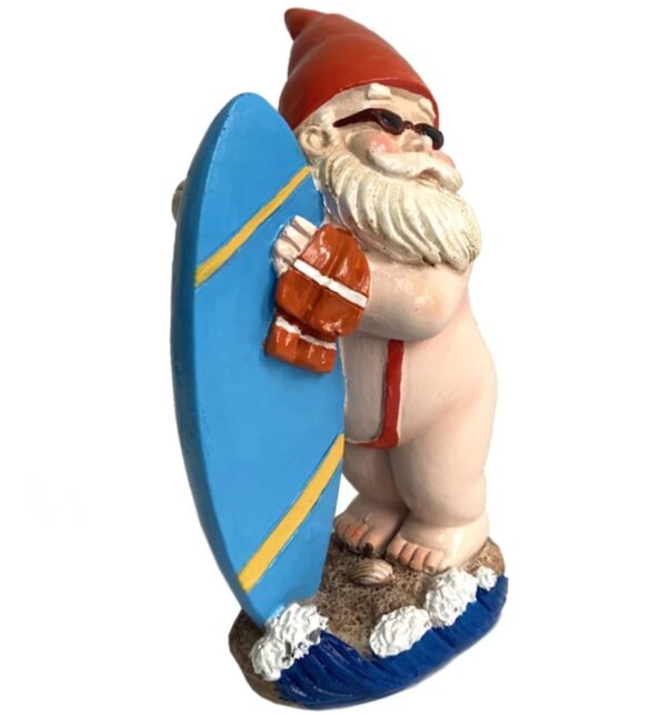Surfer Gnome with banana swimsute front view