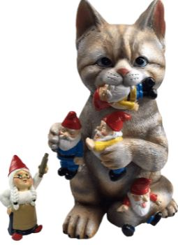 Gnomes Captured by Cat